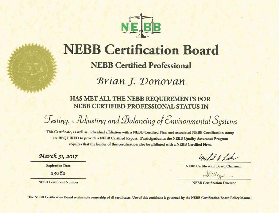 Chứng nhận của NEBB